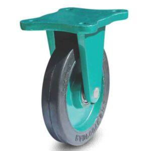 چرخ چدنی لاستیکی سبز ثابت 160